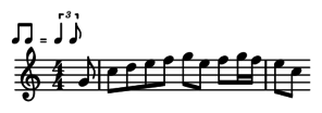 eighth notes with indication to tripletize
